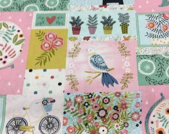 pink patch work fabric 1 yard