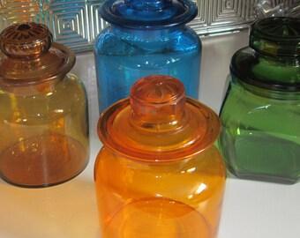 Vintage Orange Glass Jar Apothecary Jar Orange Glass with Lid Cookie Jar Kitchen Canister Dog Treat Jar Retro Orange Glass Vintage Glass Jar