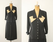 Women's 1940s Victory Suits and Utility Suits 1940s suit  vintage 1950s black suit $98.00 AT vintagedancer.com