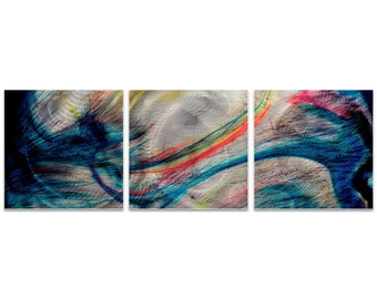 Colorful Metal Art 'Grace and Virtue Triptych Large' by Amber LaRosa - Abstract Artwork Expressionist Wall Art on Metal or Acrylic