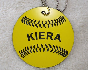 Bat Bag ID Tag, Girls' Softball Bag ID tags, Baseball Bag Identification Tags, Luggage Tags, Backpack ID Tag, T-Ball Bag Tag
