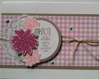 Handmade, Stamped, 3-Dimensional, Embellished Card
