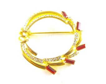 Rhinestone Brooch Red Baguette Cut Crystals Pave Set Clears Golden Rhodium Plated Circle