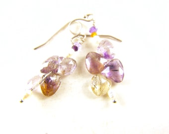 Amethyst Earrings Sterling Silver Cultured Pearl Accents Rutile Mossy Quartz