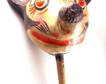 Music Maker Instrument Vintage Folk Art Maraca Paper Mache Mouse Head Shaker Percussive Percussion Mardi Gras New Orleans Momorabilia