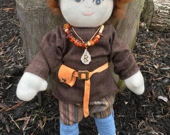 Viking Doll ~ Viking Plush Doll- -Biy Viking Doll-  ONE of a KIND Viking Cloth Doll ~ Re-enactor Doll SCA Doll ~ Historical Doll