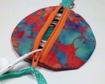Circle Zip Earbud Pouch, Coin Purse, Zipper ipod shuffle Earbud holder, Orange Teal Hawaiian Floral Headphone Case, Gadget Organizer Case
