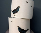 Blackbird and bee lampshade - 40cm 45cm drum lampshade