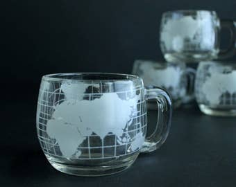 Vintage Nescafe World Globe Glass Coffee Mug Set of Two 4 Nestle Promotional Collectible