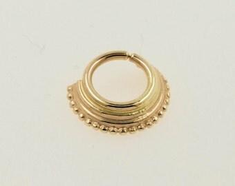 Septum ring - 14k yellow solid gold - Capirona - septum ring - gold septum Ring- Tragus - cartilage ring - nose jewelry - piercing jewelry