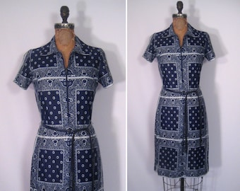 1960s ink blue bandana print shift dress • 60s mod navy and white summer dress • vintage you make me feel so young dress