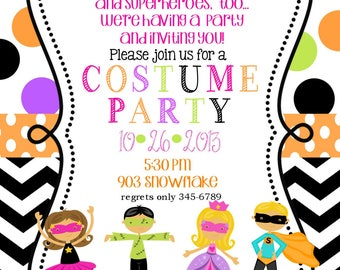 12 Costume Birthday party Invitations with envelopes - Fall- Halloween