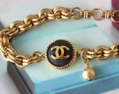 Designer Button Bracelet Chunky Gold Chain Bracelet, Valentine, Designer Button Jewelry Iconic Designer, Vintage Button Jewelry veryDonna