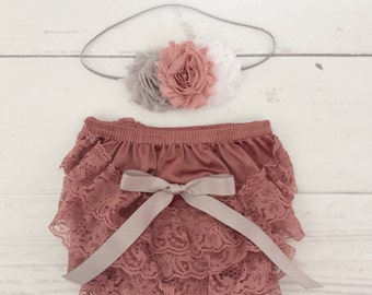 Vintage pink and gray shabby chic headband and bloomer set-lace baby bloomer-baby girl headband-newborn bloomer set-coming home newborn outf
