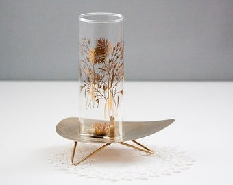 Midcentury candle holder by David Douglas Glass, Atomic -  wheat pattern