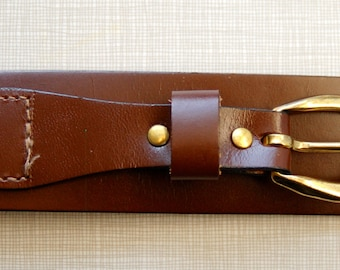 1950's chocolate colored leather belt with gold hardware