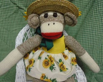 You Are My Sunshine Sock Monkey Doll In Sunflower Outfit