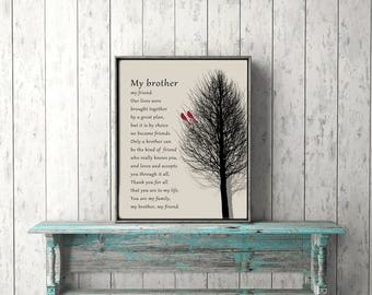 BROTHER GIFT Poem PRINTABLE Instant Download Gift from Sister Gift from Brother to Brother 8x10 5x7  A4  11x14  Wall Art  diy Print