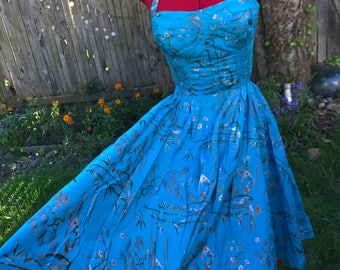 "RESERVED 1950s Shaheen ""Nikko"" Bamboo Novelty Print Shelf Bust Halter Dress"