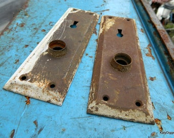 Vintage Architectural Salvage Brass Door Plates,salvage door parts,Brass door Plate