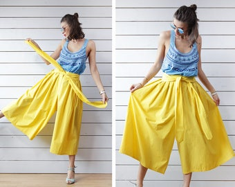 Vintage bright yellow cotton wide leg palazzo short capris culottes midi skirt short pants S M