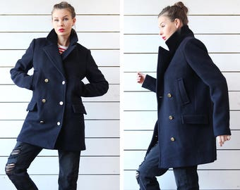 Vintage navy blue wool double breasted military style hip length short coat jacket M