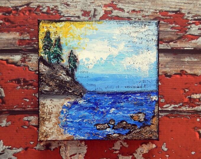 Seascape Canvas Art | Coastal Painting | Ocean Art | Beach Decor | 6x6 | Abstract Seascape No. 2 | Saltons Cove Studio