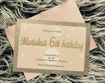 Pink and champagne party invitations
