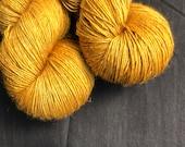 Mustard single ply yak blend sock weight yarn 120g skein