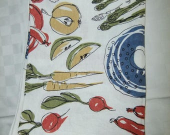 Vintage Swedish printed kitchen tablecloth - Fruit,vegetables and lots of food