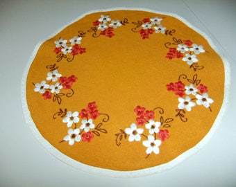 Vintage Swedish Hand embroidered orange linen tablecloth - Flowers in red and white