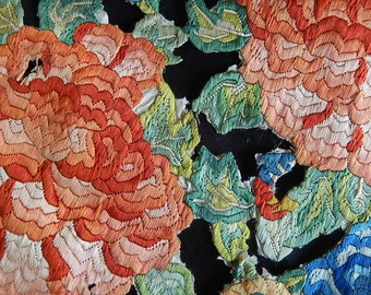 Antique Chinese hand embroidery pair roundels motifs on paper exotic flora circa 1900