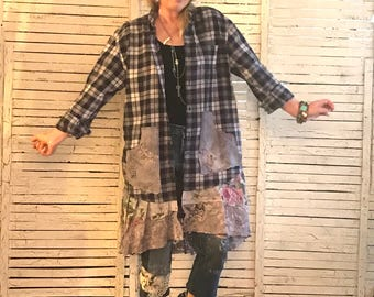 Prairie Chic Duster Coat L/XL, Upcycled Clothing for Women, Upcycled Flannel Shirt, Hippie Boho, Junk Gypsy, Vintage Lace and Floral Fabrics