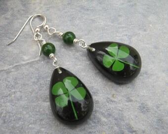 Four Leaf Clover Earrings, Sterling Silver, REAL Pressed Clover Earrings, Botanical Drop Jade Earrings, Black & Green, St Patricks Day