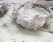 Snowy White Flower Crown- Christmas Flower Crown-White Flower Crown-  Boho Flower Halo- Wreath- Flower Crown- Tie back halo