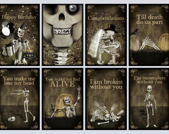 8 Greeting cards,skull,gothic cards,postcards,skeletons,Halloween,Happy birthay,i love you,zombie,walking dead,horror,congratulations