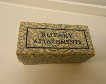 vintage Rotary sewing machine attachments, instructions, box- ruffler-foot-more Greist