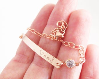 Personalized Bar Bracelet with Crystal, Dainty Jewelry, Handstamped, Roman Numerals, Name, Date, Initials, Bridal, Wedding, Bridesmaid