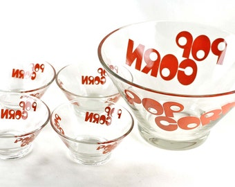 Vintage Popcorn Bowl Set 5 Piece with Red Letters