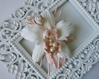 Ivory Pink Leather Orchid Flower Brooch/ Hairclip