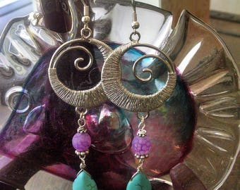 "Earrings Handmade Long Purple Agate and Turquoise Silver Swirls Exotic Gypsy Boho Chic Beautiful 3 1/2"" Long"