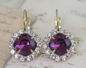 Purple Bridesmaid Earrings Set of 4 Pairs Plum Amethyst Gold Earrings Bridesmaid Jewelry Personalized Gift Box Dangle Earrings Swarovski