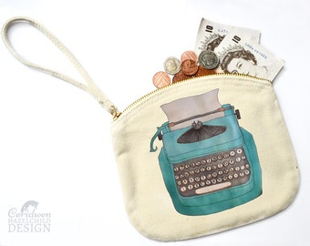 Typewriter Canvas Zip Purse, Makeup Bag, Coin Purse, Small Accessory Pouch