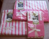 Vintage Unused All Cotton Percale Twin Sheet Set Pink Stripes by Pacific NOS