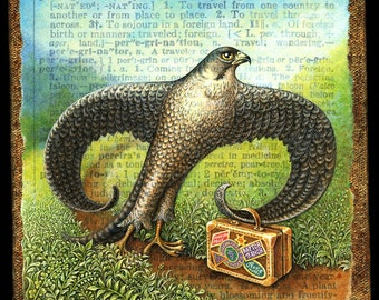 Travel art print, Peregrinate:  Peregrine falcon with suitcase walks a mountain trail. Wanderlust painting, travel gift, bird art, letter P
