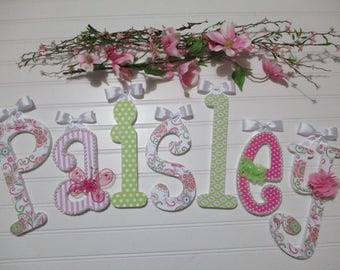 """PAISLEY - 12.00 PER LETTER Girl's name, 9"""" - 6 1/2"""" wooden letters whimsical font, pink, green, buttons, bows, flowers, paisley print"""
