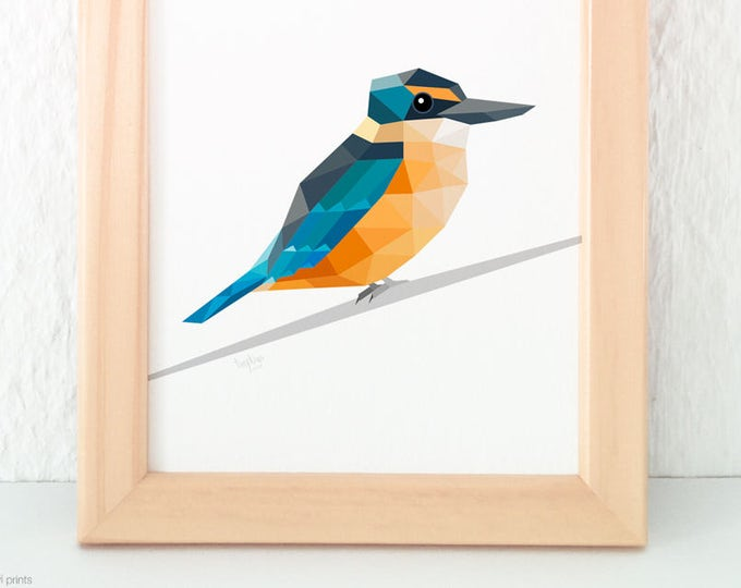 Kingfisher, New Zealand kingfisher, New Zealand bird, Geometric kingfisher, New Zealand wall art, Coastal wildlife, Kiwi wildlife wall art