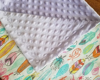 Baby Blanket Feather Carseat Blanket Crib Blanket Girl Feather Minky Blanket