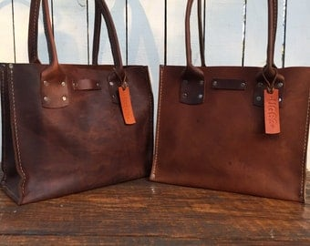 Distressed Brown Leather Handbag* The Bella* Soft Brown Leather Purse* Small Brown Leather Purse* Custom Made in the USA