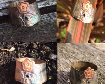 Oxidised sterling silver and copper floral woodland midi ring